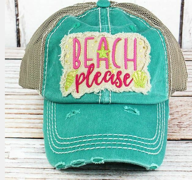 """Distressed hat turquoise """"Beach Please"""" hat"""