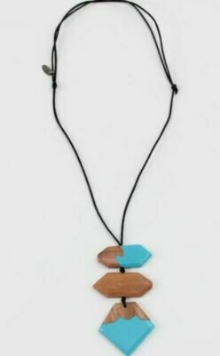 Sylca Blue and wood statement necklace