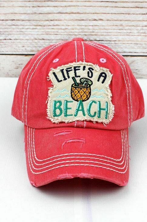 Distressed Salmon 'Life's A Beach' Cap