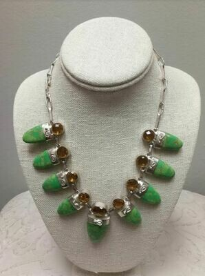 Green Copper Turquoise and Citrine Sterling Silver Necklace