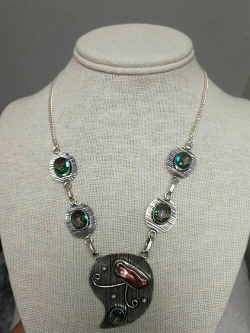 Mystic topaz and Biwa Pearl Sterling Silver Necklace