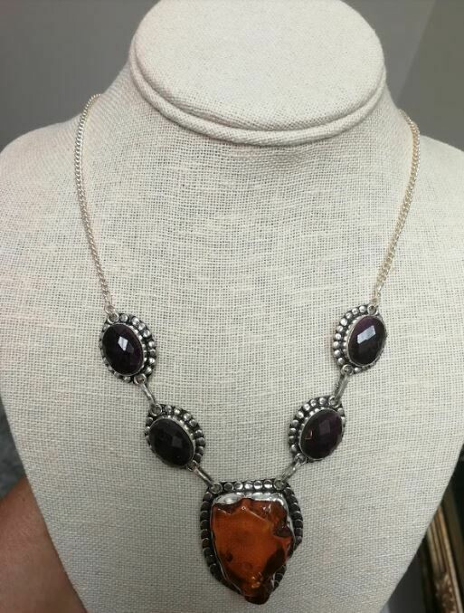 Amber/ Ruby Sterling Silver Necklace
