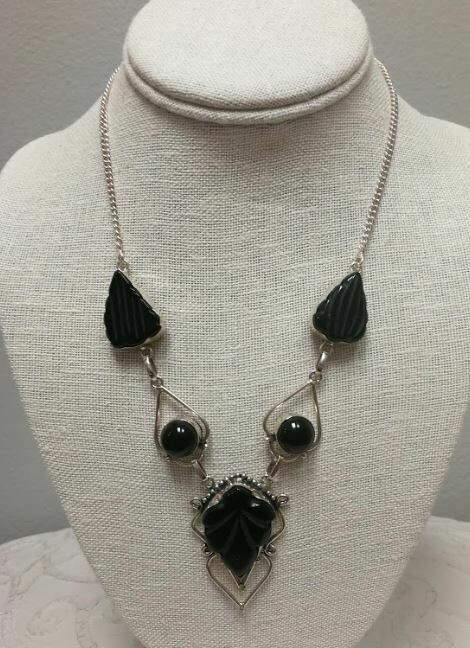 Carved Black Onyx, Sterling Silver Necklace