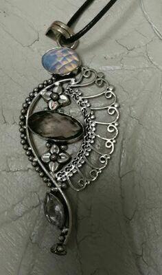 Smoky Topaz, Opal, Herkimer Diamond Sterling Silver Pendent