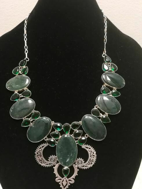 Moss Agate/ Chrome Diopside Elegant Necklace