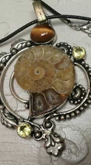 Ammunite Fossil Pendent with Tiger eye and Citrine Sterling Silver