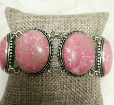 Pink Howlite Sterling Silver Bracelet