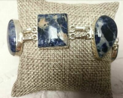Blue Sodalite Sterling Silver Bracelet
