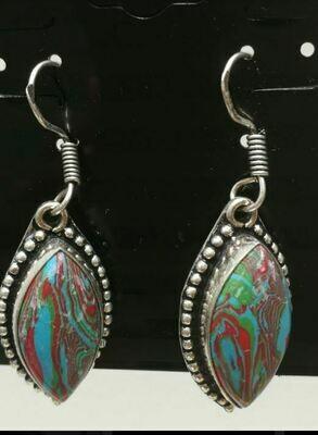 Rainbow Calsilica Sterling Silver Earrings