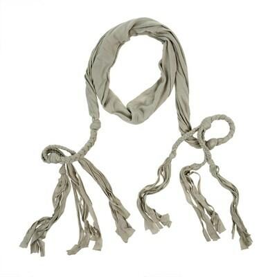 Saskia Braided Belt/Scarf, Light Grey
