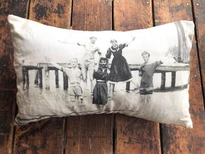 Men at the Beach by Ruben Sallows Pillow