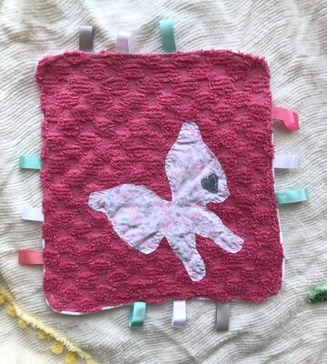Moxie & Zab - Tag-a-Long Blanket ~ Butterfly on Pink Chenille