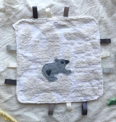 Moxie & Zab - Tag-a-Long Blanket ~ Grey Bear on Cream Chenille