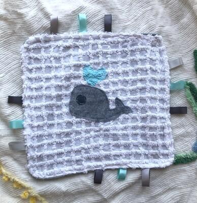 Moxie & Zab - Tag-a-Long Blanket ~ Grey Whale on White Chenille