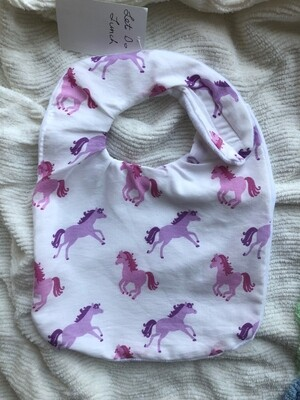 Moxie & Zab - Take Me to Lunch Bib ~ Pink Horses