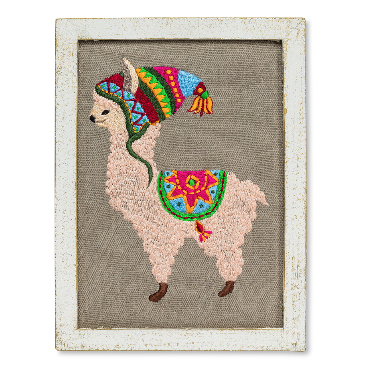 Llama with a Hat Embroidered Wall Art