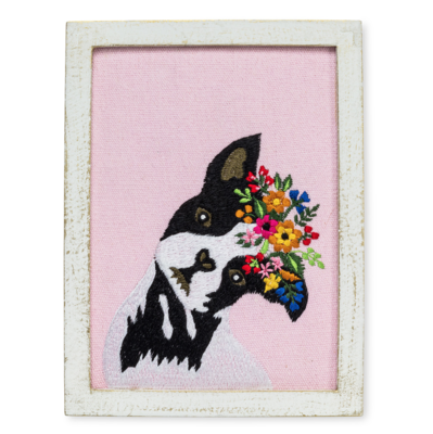 French Bulldog with Flowers Embroidered Wall Art