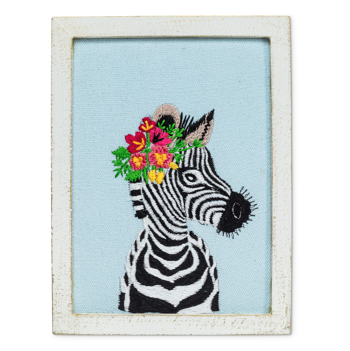 Zebra with Flowers Embroidered Wall Art
