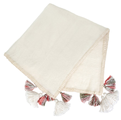 White Tassel + Trim Throw