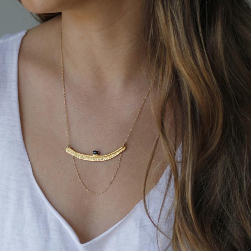 Bauxo ~ Rapture Necklace with Black Stone