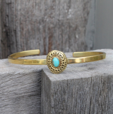 Bauxo ~ Brass Establish Bracelet with Turquoise Stone