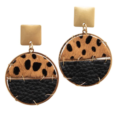 Michelle McDowell ~ Cheetah and Leather Earrings