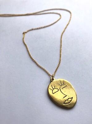 Tamara Steinborn ~ MEGARA ~ Abstract Face Necklace in Bronze