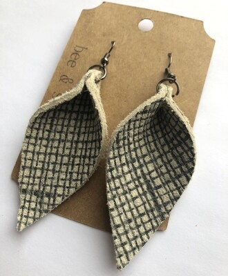 Bee and Sallie ~ Ivory Plaid Petal Earrings