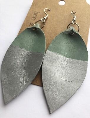 Bee and Sallie ~ Silver Dip Teal Petal Earrings