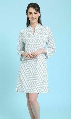 Blue and White Tunic Dress