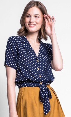 Pink Martini ~ The Ava Top - Navy