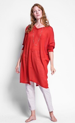 Pink Martini ~ The Dustee Sweater Top - Red