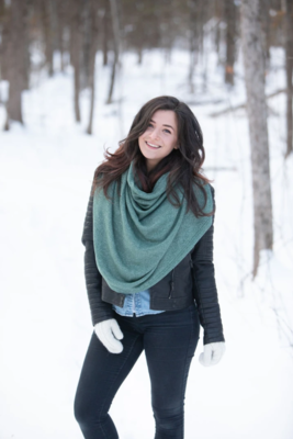 Blondie ~ Classic Winter Poncho in Heather Green