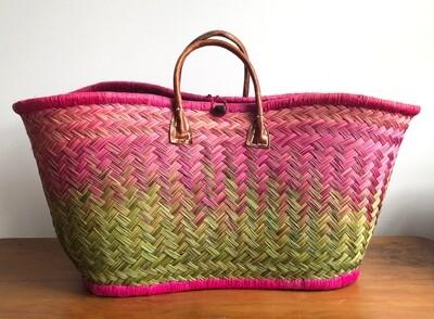 Madagascar basket - Pink & Lime Green