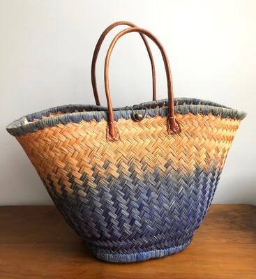 Round Madagascar Basket - Orange & Navy
