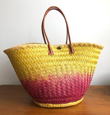 Round Madagascar Basket - Yellow & Pink