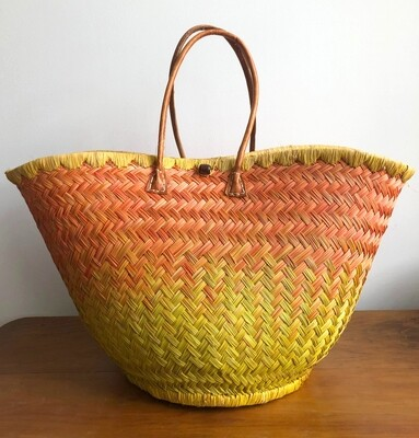 Round Madagascar Basket - Orange & Yellow