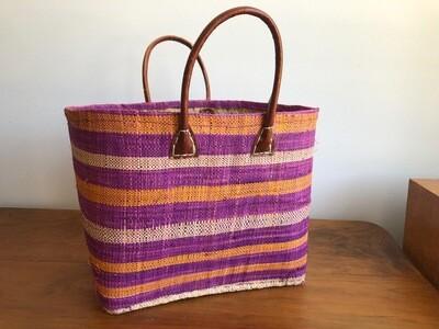 Madagascar Basket - Purple & Orange Stripe