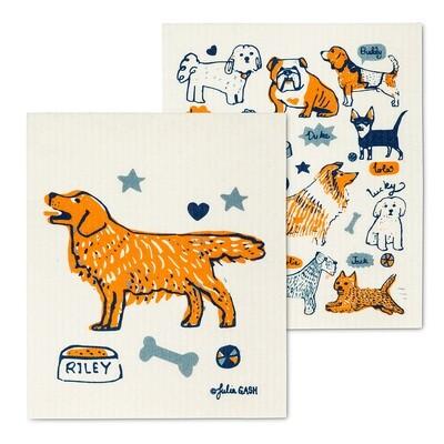 Dog & Name Dish Cloth Set of 2