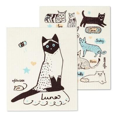 Cat & Name Dish Cloth Set of 2