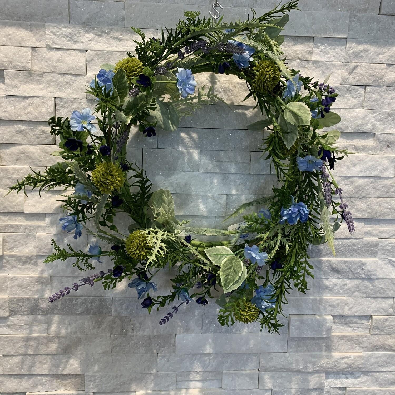 Country Blossom & Lavender Wreath, Blue