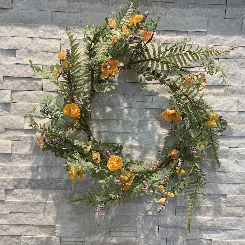 Mini Ranunculus & Sage Wreath Gold/Orange