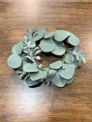 Flocked Leaf & Euc Tbl Wreath, Grey