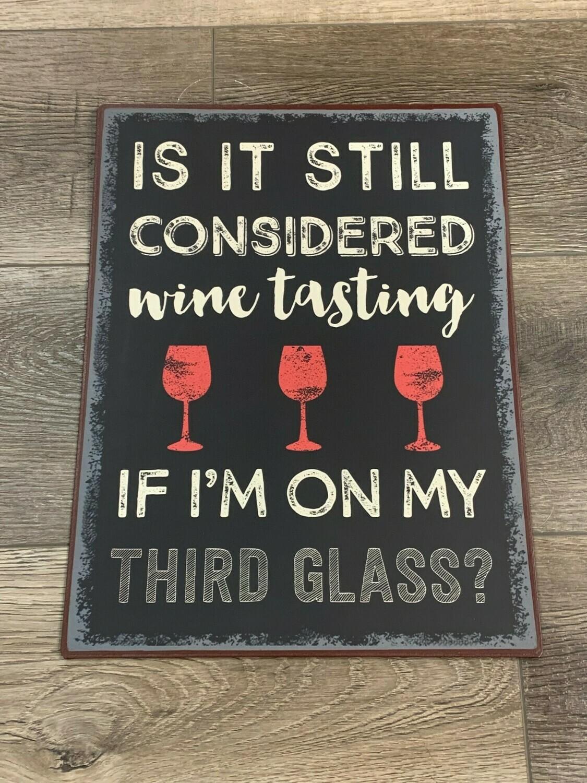 Wine Tasting Metal Sign