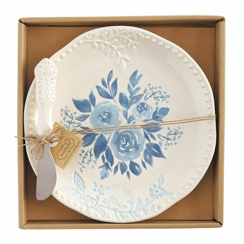 Blue Floral Cheese Plate Set