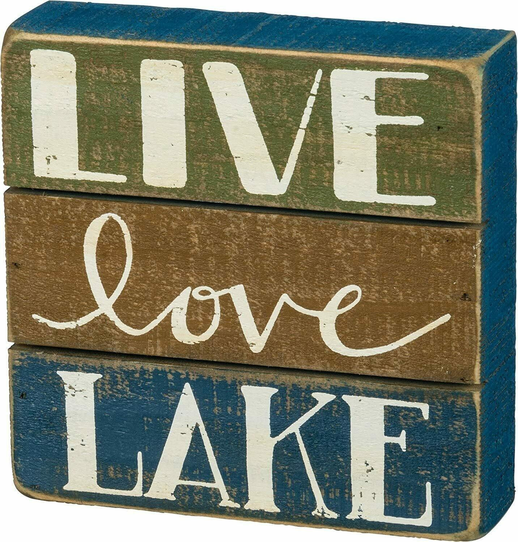 Live Love Lake Slat Box Sign