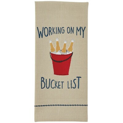 Bucket List Embroidered Dish Towel