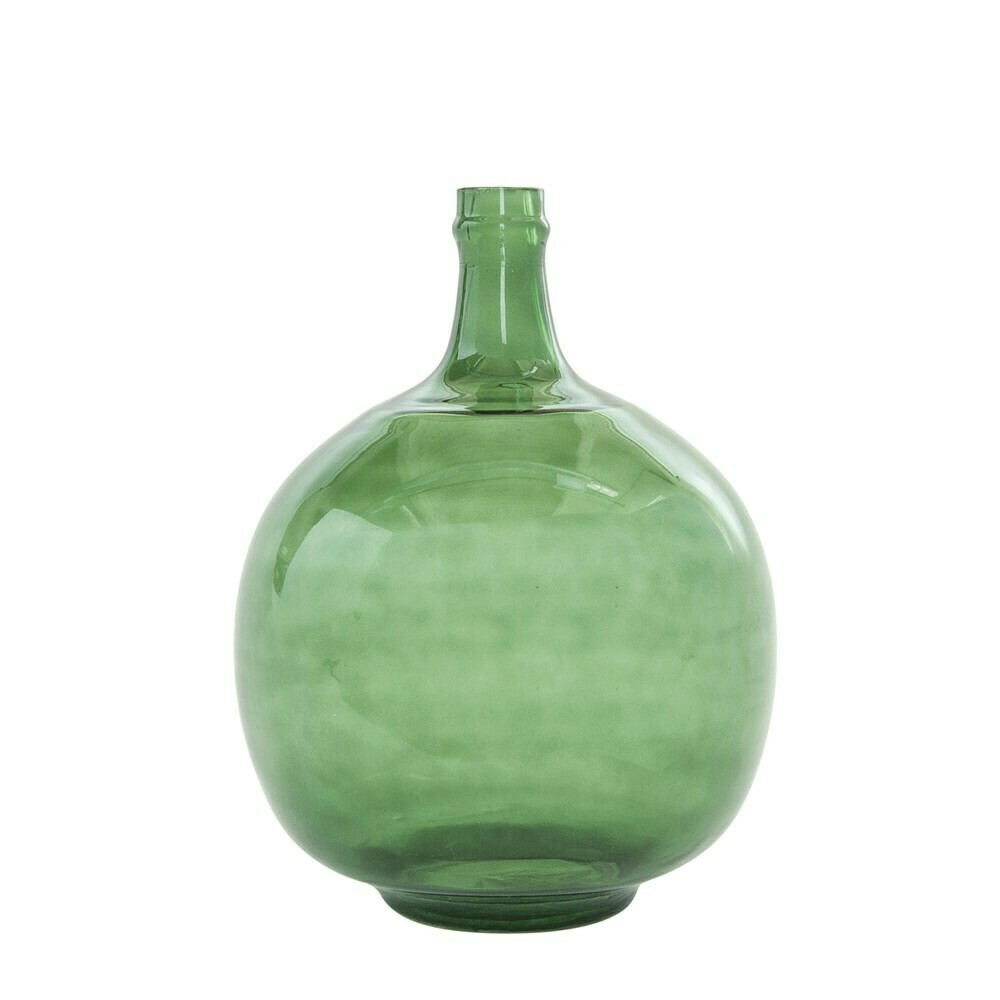 """9"""" Round Green Vintage Reproduction Glass Bottle"""