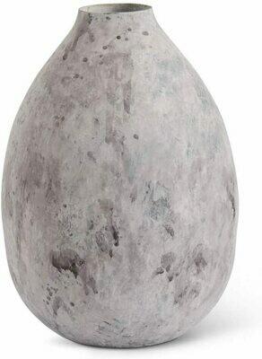 Gray Metal Vase w/Acid Wash Lg.