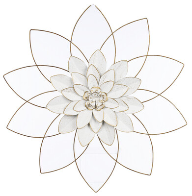 White & Gold Open Work Layered Flower Lg